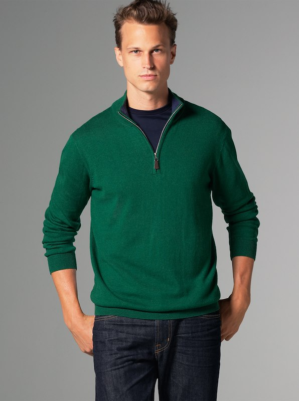 Luxury Blend Carmel Half-Zip Contrast Collar - Green