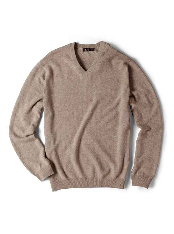 Cashmere V-Neck Sweater - Fawn Heather