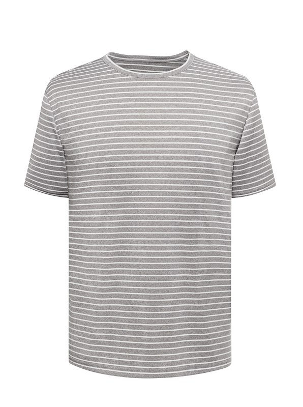 Light Grey Melange Stripe Tech Poly