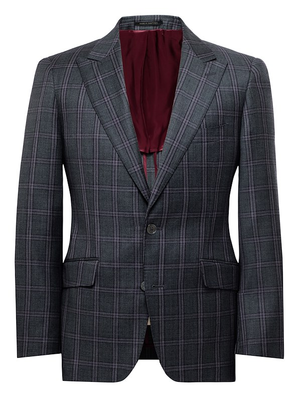 Charcoal and Burgundy Windowpane